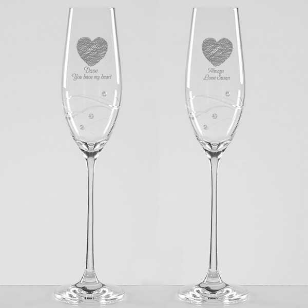 Personalised Always Diamante Champagne Flutes
